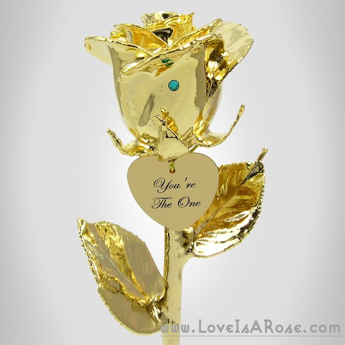 24k Gold Dipped Rose with Engraved Heart