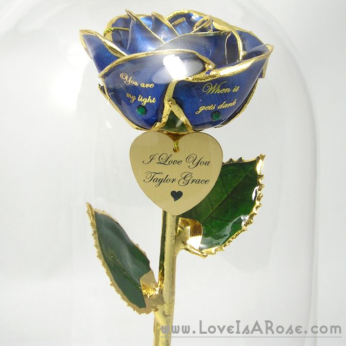 Personalized 24k Gold Rose in Glass Dome
