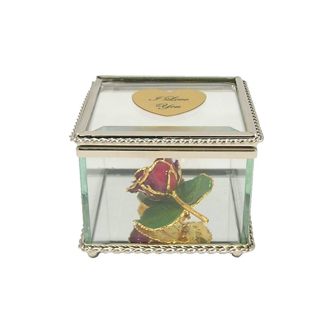 24k Gold Rose Brooch with 3 Leaves in Glass Museum Case