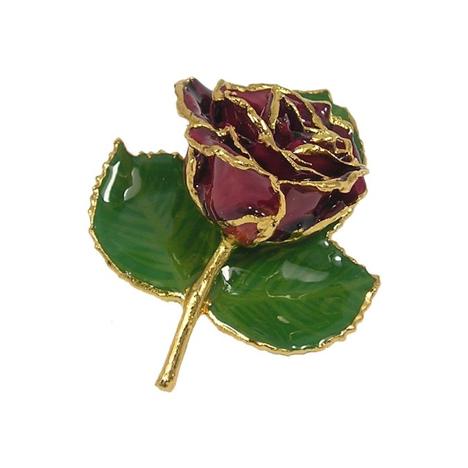 24k Gold Rose Brooch with 3 Leaves