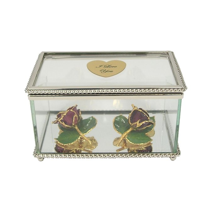 2 24k Gold Rose Brooches with 3 Leaves in Glass Museum Case