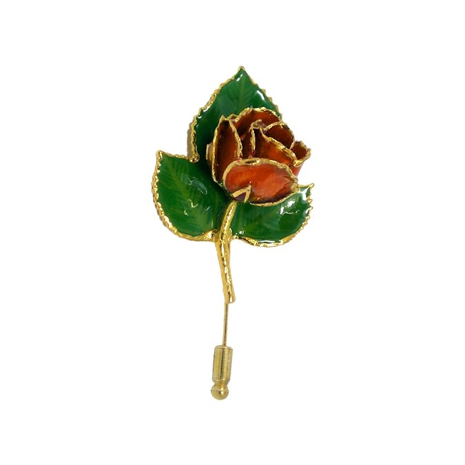 24k Gold Rose Pin with 3 Leaves