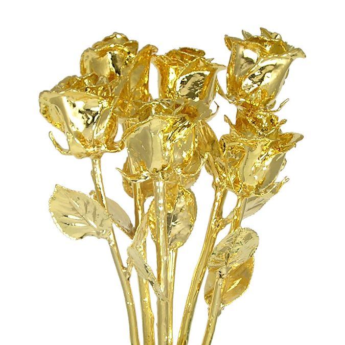 Six 11'' 24kt Dipped Real Rose Bouquet