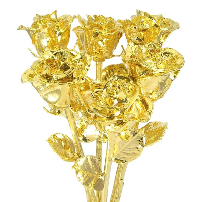 Half Dozen 18'' Real Roses Dipped in 24k Gold