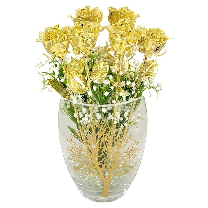 50th Anniversary Gift: 6 Gold Roses Tree of Life Vase