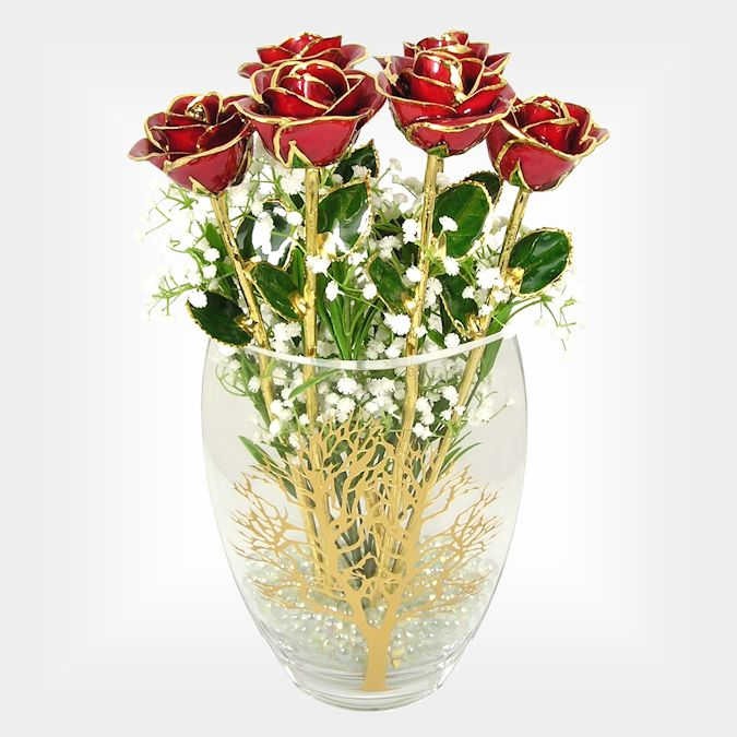 50th Anniversary Gift: Six 18in. 24k Gold Trim Roses in Tree of Life Vase