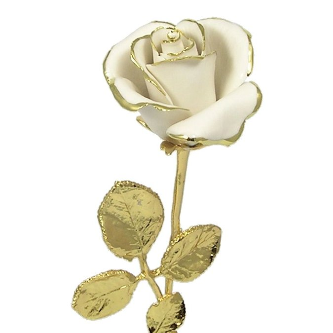 White capodimonte porcelain rose 24k gold trim love is a rose hover to zoom mightylinksfo