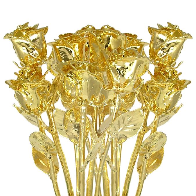 The Ultimate Expression of Love Gold Dipped Rose Bouquet