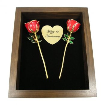 """Two 8"""" Gold Trim Roses in 1st Anniversary Shadow Box: Love Is A Rose"""