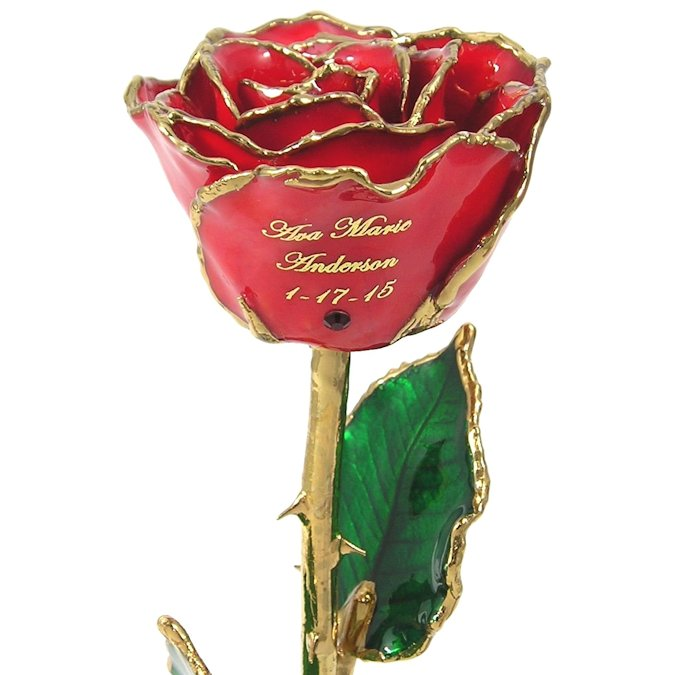 1st Mothers Day Personalized Birthstone Rose Gift: 11in.