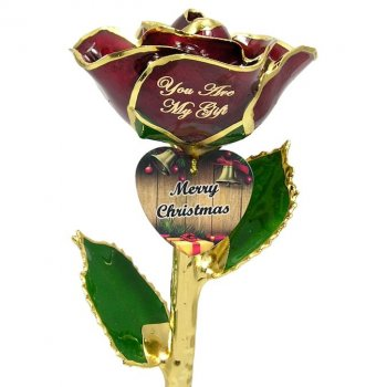 Personalized Christmas Rose Gift and Engraved Heart: 11in.
