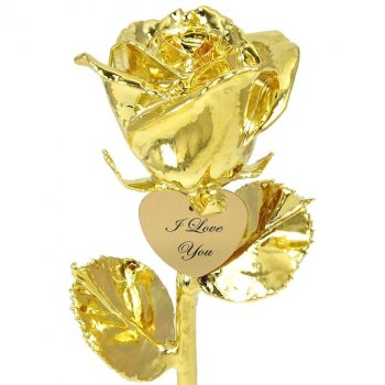 "11"" Dipped Rose and Personalized Engraved Heart"