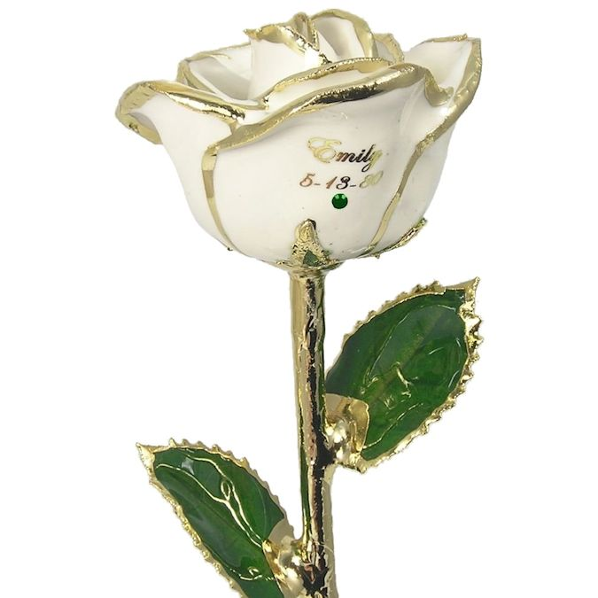 Personalized Preserved Birthday Rose Gift with Free Birthstone: 11in.