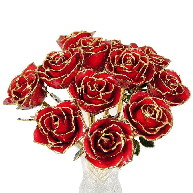 24k Gold Trimmed Roses 1 Dozen 8 Quot Rose Bouquet Love Is A Rose