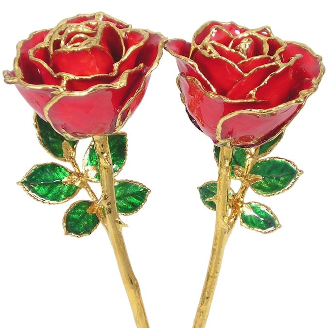His and Her 24k Gold Trimmed Roses: 8in.