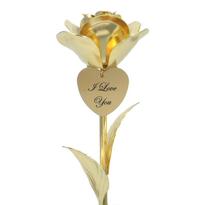 24k Gold Heirloom Rose Free I Love You Heart