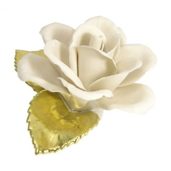 Capodimonte Porcelain Rose With Gold Leaves Love Is A Rose