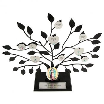 Catholic Gift: Engraved Family Tree Stand