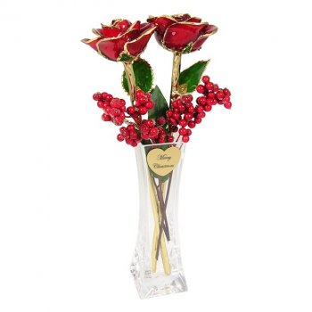 Two Preserved Christmas Roses In Personalized Vase