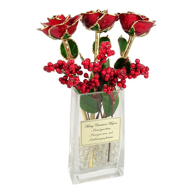 Past Present Future Christmas Roses Personalized Vase Love Is