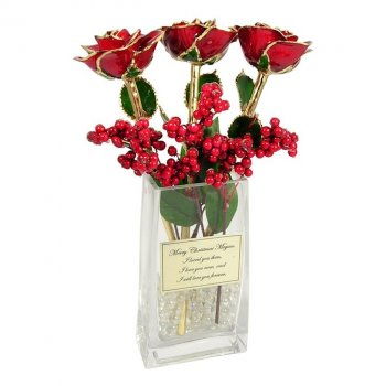 Past Present Future Christmas Roses Personalized Vase