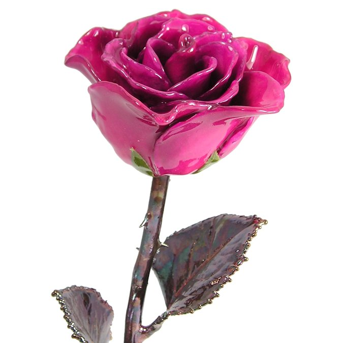 Antique Copper Rose: 11'' Fuchsia Rose