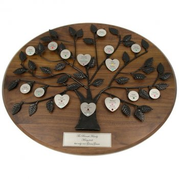 Engraved Family Tree Plaque with Silver Plate