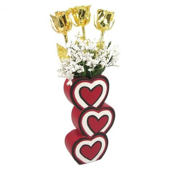 Past, Present & Future Gold Roses in 3 Heart Vase