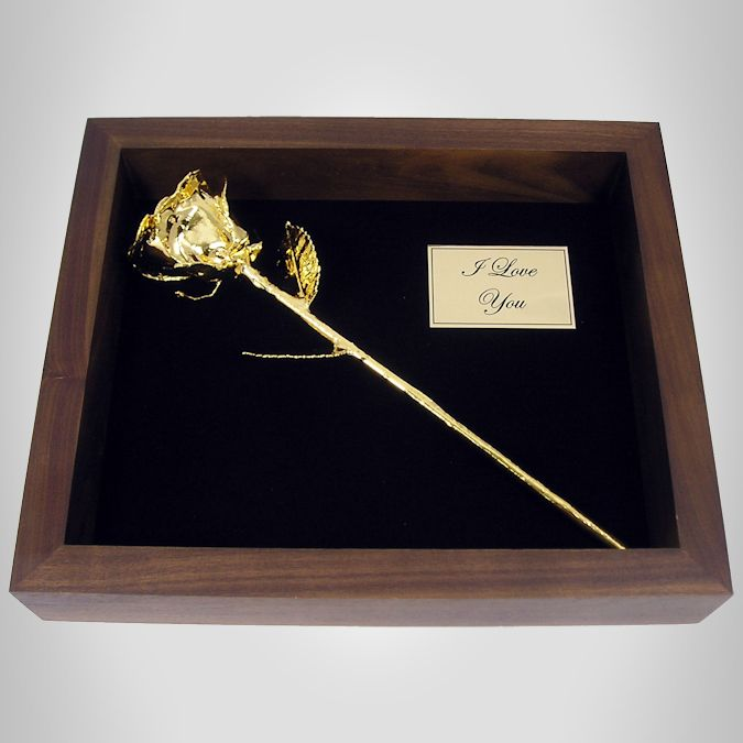 11'' Gold Dipped Rose in Shadow Box