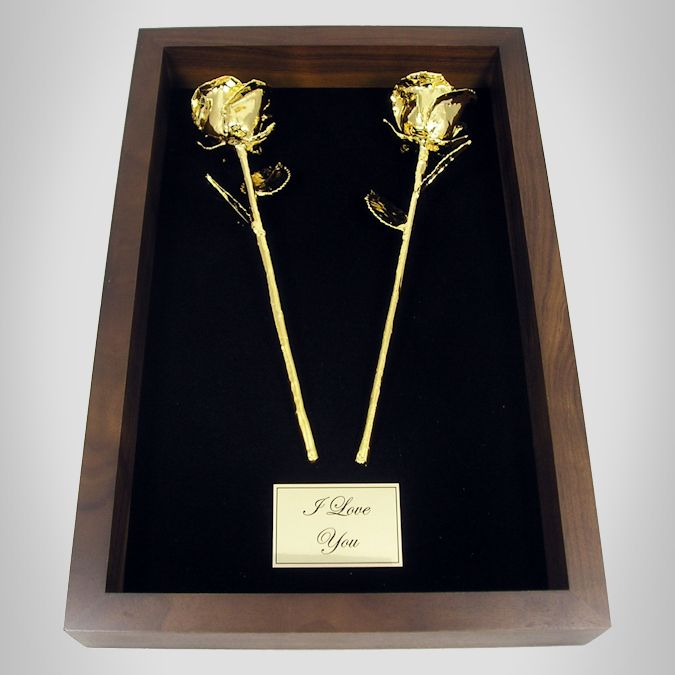 2 11'' Gold Roses in 50th Anniversary Gift Shadow Box