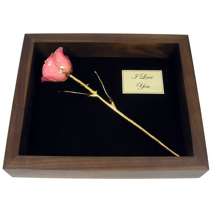 11'' 24k Gold Rose with Natural Color in Shadow Box