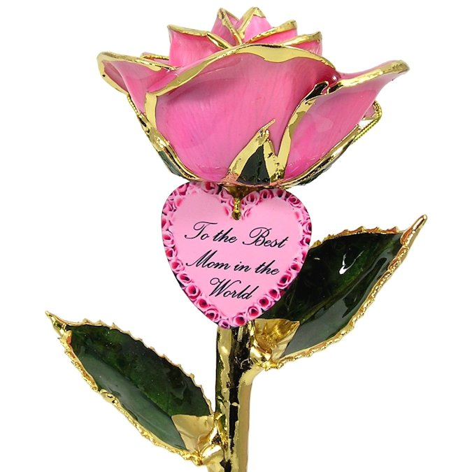 Personalized Mothers Day Gift: 24k Gold Rose and Engraved Heart: 11in.