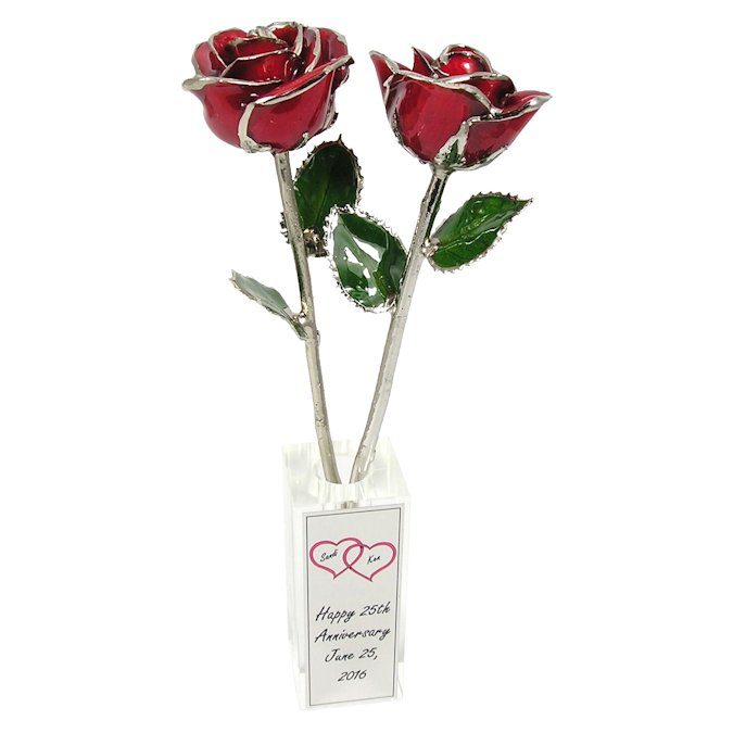 2 Silver Trim Roses In Personalized Crystal Vase Love Is A Rose