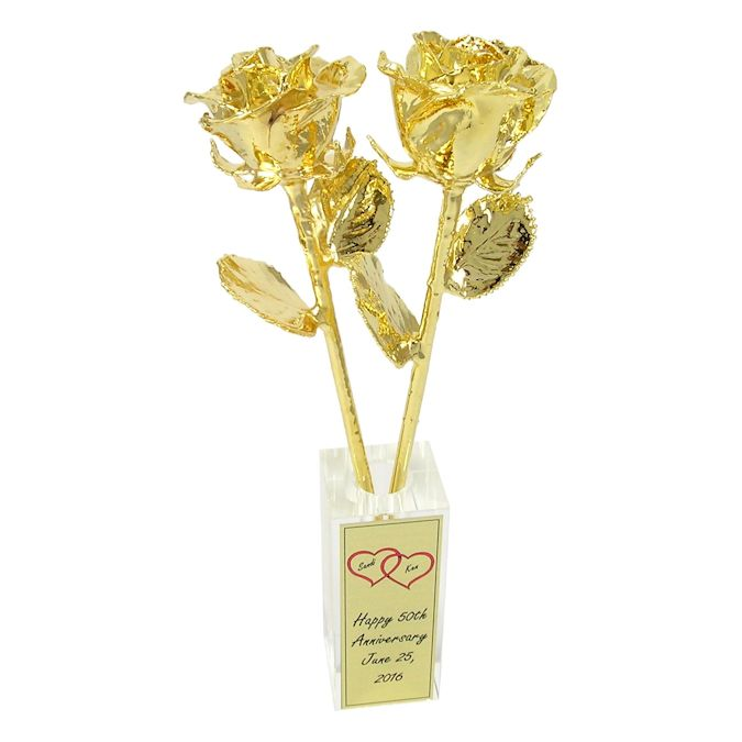 """Unique Golden Wedding Anniversary Gifts: 50th Anniversary Gift: 11"""" 24k Dipped Roses & Vase: Love"""
