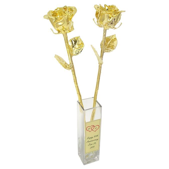 18'' 24k Dipped Roses in Vase 50th Anniversary Gift