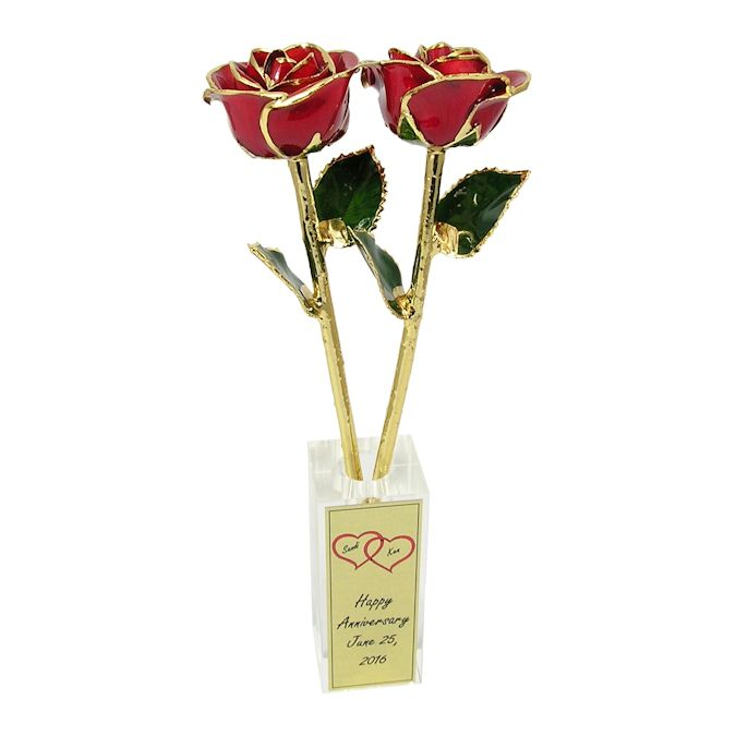 Personalized Anniversary Gift: 2 Gold Trimmed Roses in Crystal Vase: 11in.