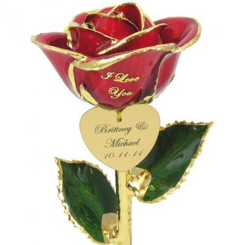 Personalized I Love You Couples Rose Gift: 11in.