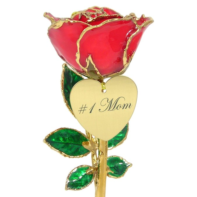 Personalized Mothers Day Gift: Preserved Rose and Heart: 8in.