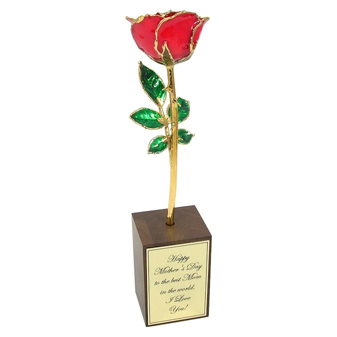 Mothers Day Rose Gift and Personalized Walnut Stand: 8in.