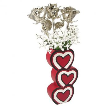 Past, Present & Future Platinum Roses in 3 Heart Vase