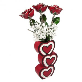 Past, Present, Future Platinum Trim Roses & 3 Heart Vase