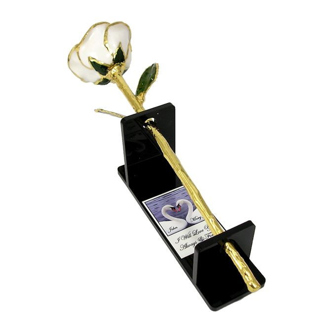 Wedding or Anniversary Preserved Rose in Personalized Stand