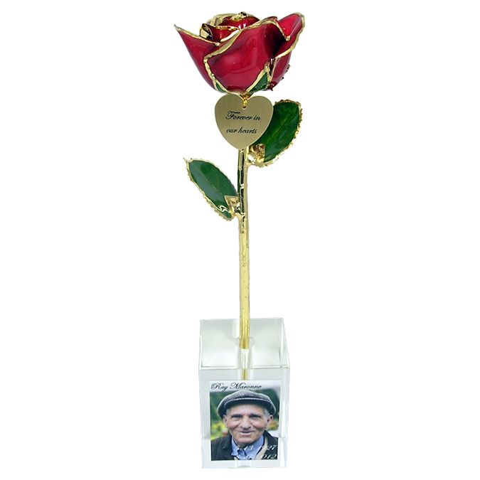 Preserved Rose in Vase with Personalized Memorial Photo: 11in.