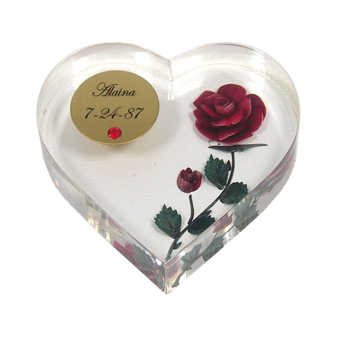 Personalized Birthstone Heart Paperweight with Rose