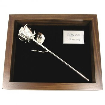 11 Sterling Silver Rose In Walnut Shadow Box Love Is A