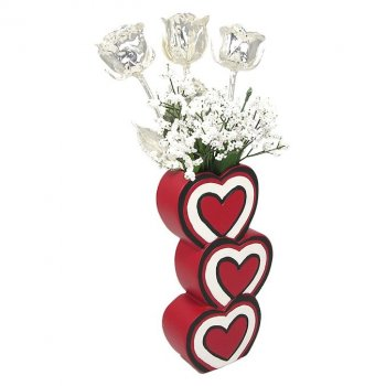 Past, Present & Future Silver Roses in 3 Heart Vase