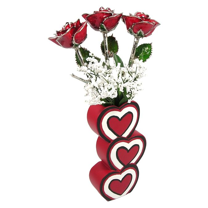 Past Present Future Silver Trim Roses 3 Heart Vase Love Is A Rose