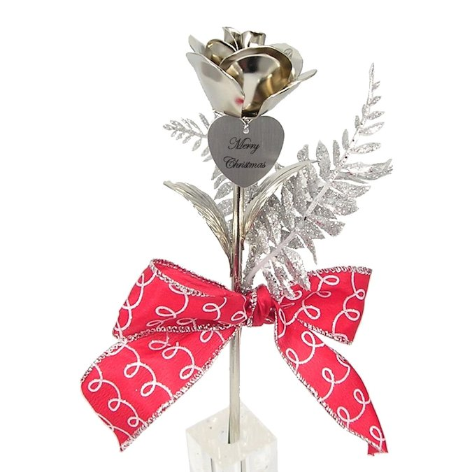 Silvery Christmas Rose and FREE Heart Charm