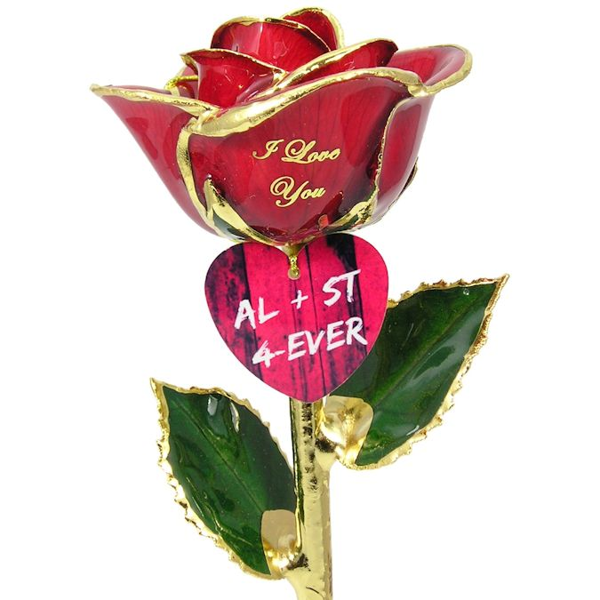 Valentines Day Rose and Couples Engraved Heart: 11in.