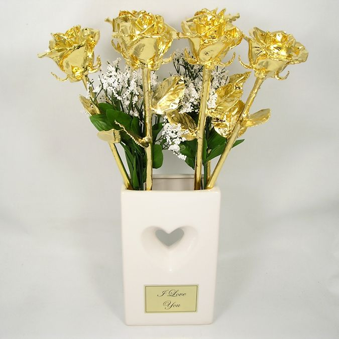6 18 Gold Dipped Roses Engraved Valentines Day Vase Love Is A Rose